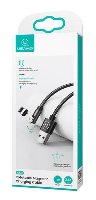 USAMS Καλώδιο USB σε Micro USB U59, μαγνητικό, περιστρεφόμενο, 1m, μαύρο